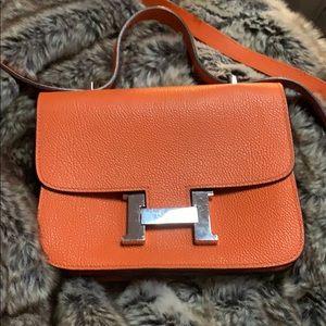 Authentic HERMES Constance orange crossbody bag